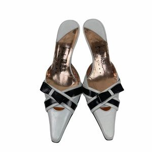 Nicole Miller Couture Leather Mules with Bow 6.5 M